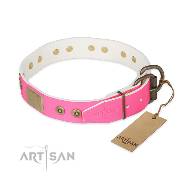 Rust-proof D-ring on comfortable wearing dog collar