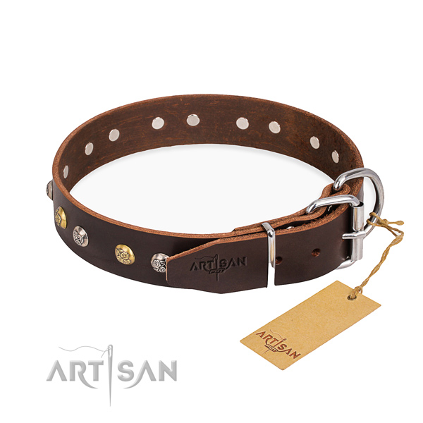 Best quality full grain leather dog collar crafted for easy wearing
