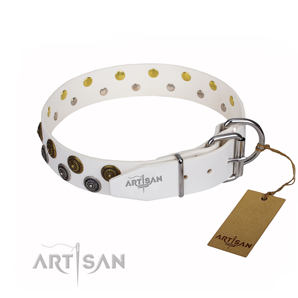 Handy use decorated dog collar of quality full grain leather