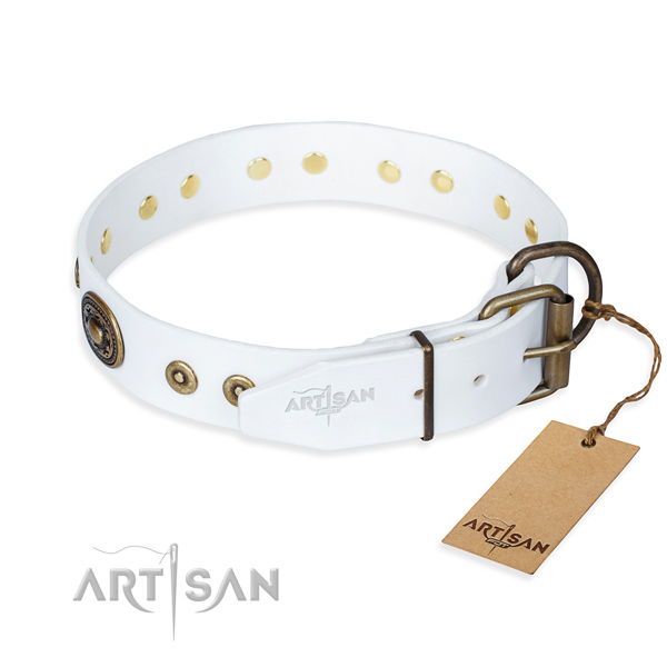 Natural genuine leather dog collar made of best quality material with durable studs
