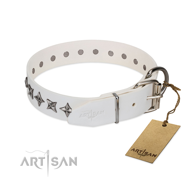Finest quality full grain leather dog collar with unique decorations