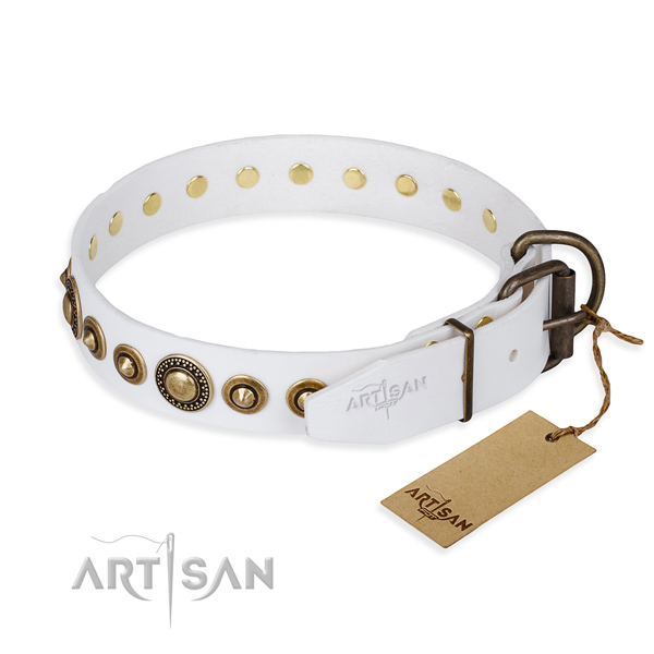 Quality leather dog collar handmade for stylish walking