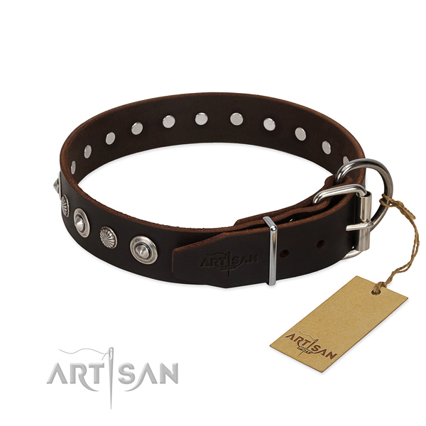 Top quality natural leather dog collar with amazing decorations