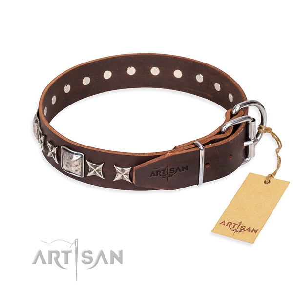 High quality decorated dog collar of full grain genuine leather