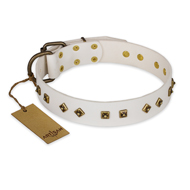 """Snow Cloud"" FDT Artisan White Leather Labrador Collar with Square and Rhomb Studs"