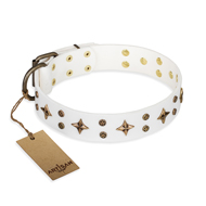 """Bright Stars"" FDT Artisan White Leather Labrador Collar with Old Bronze Look Decorations"