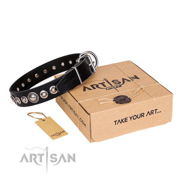 Finest quality full grain genuine leather dog collar