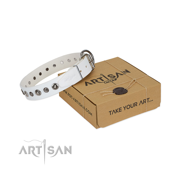 Finest quality full grain leather dog collar with inimitable studs