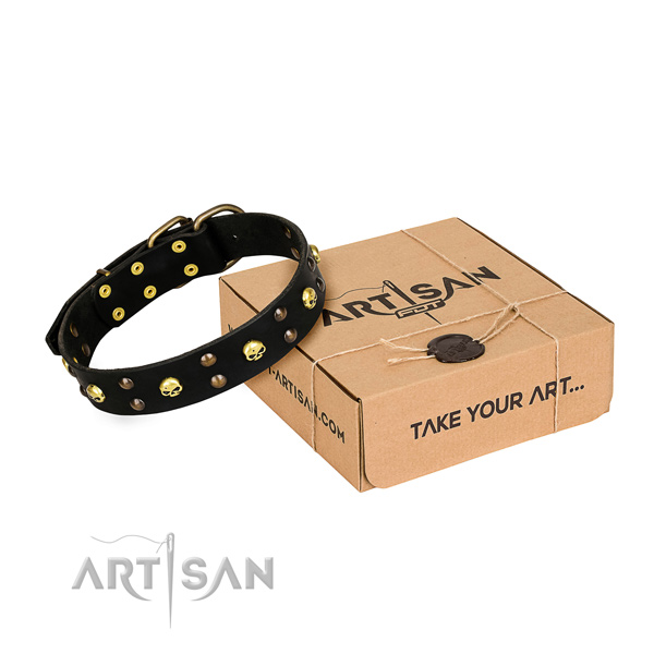 Comfy wearing dog collar of durable full grain genuine leather with embellishments
