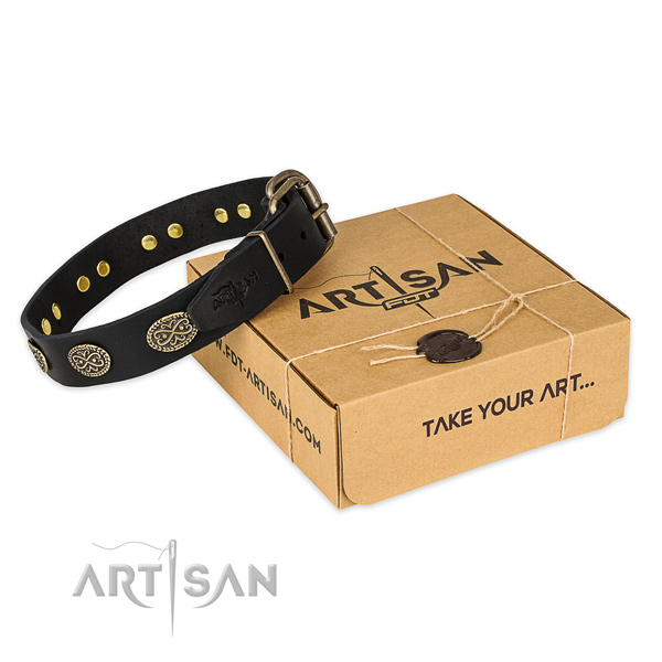 Corrosion resistant fittings on genuine leather collar for your stylish pet