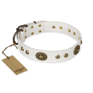 """Adorable Dream"" FDT Artisan White Leather Labrador Collar"