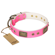 """Frenzy Candy"" FDT Artisan Decorated Pink Leather Labrador Collar"