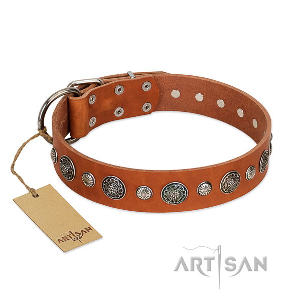 Gentle to touch natural leather dog collar with corrosion proof D-ring