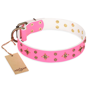 """Chi-Chi Pink Rose"" FDT Artisan Leather Labrador Collar with Decorations"