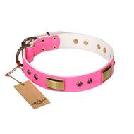 """Pink Daydream"" FDT Artisan Pink Leather Labrador Collar with Old Bronze Look Plates and Studs"