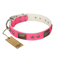 """Fashion Skulls"" FDT Artisan Pink Leather Labrador Collar with Old Silver Look Plates and Skulls"