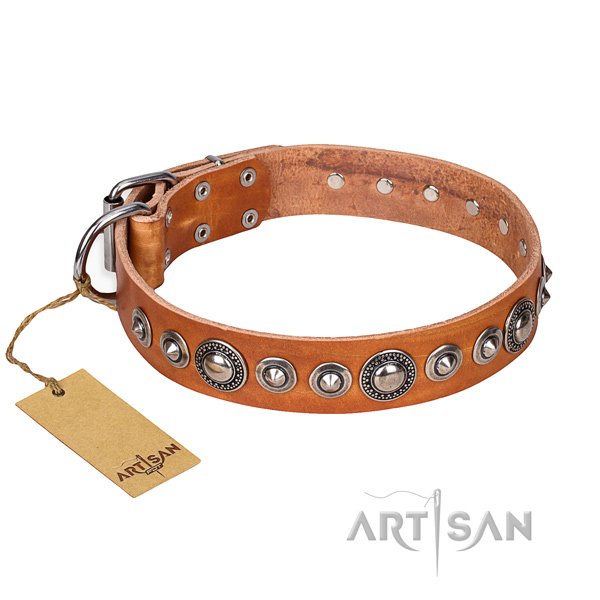 Leather dog collar made of soft to touch material with strong traditional buckle
