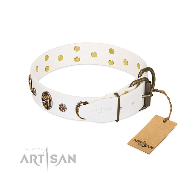 Corrosion resistant hardware on natural genuine leather dog collar for your four-legged friend