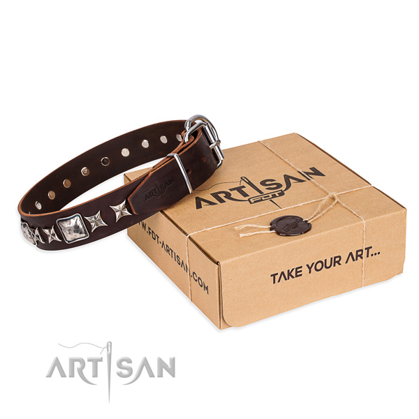 Comfortable wearing dog collar of fine quality natural leather with decorations