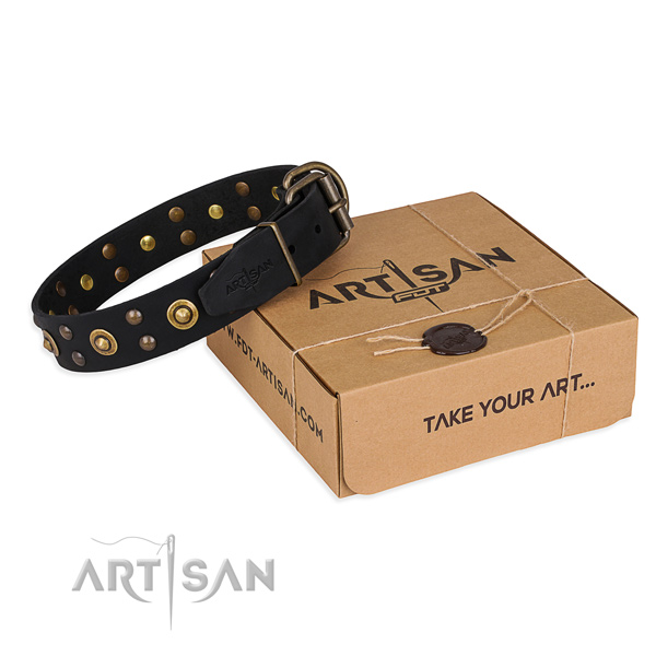 Strong buckle on full grain leather collar for your handsome doggie