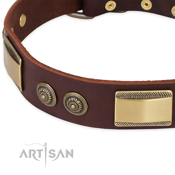 Handmade genuine leather collar for your lovely pet