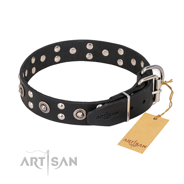 Natural leather dog collar with remarkable corrosion resistant decorations
