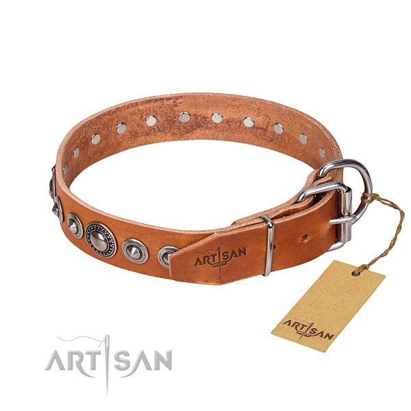 Genuine leather dog collar made of high quality material with rust-proof studs