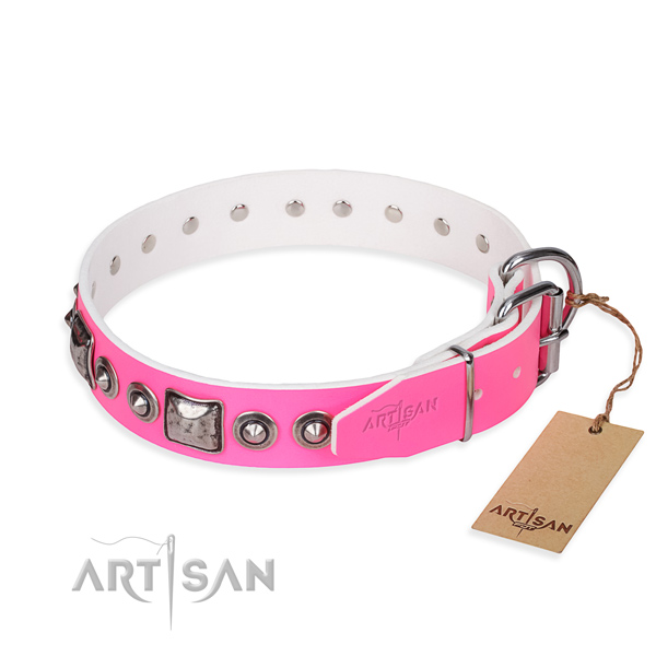 Soft to touch full grain natural leather dog collar created for everyday walking