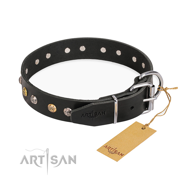 Best quality genuine leather dog collar crafted for comfy wearing