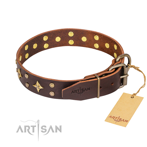 Everyday use embellished dog collar of strong full grain genuine leather