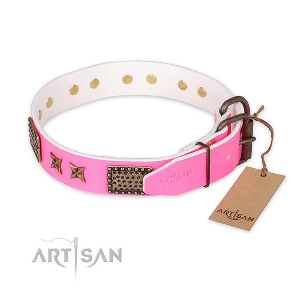 Durable fittings on full grain genuine leather collar for your attractive dog