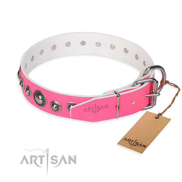 Genuine leather dog collar made of flexible material with reliable studs