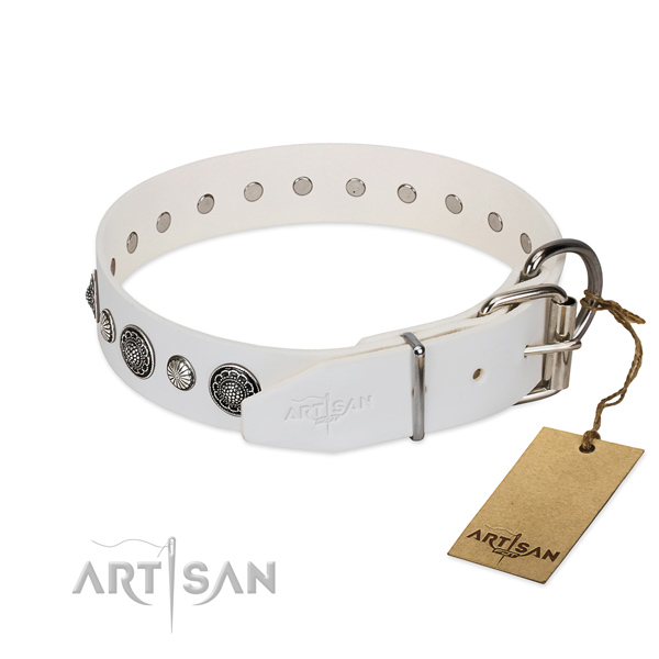 Durable genuine leather dog collar with rust resistant hardware