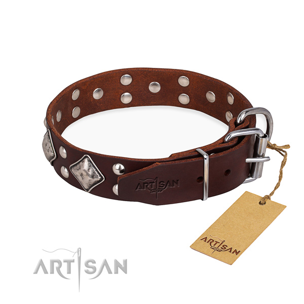 Full grain leather dog collar with impressive rust-proof decorations