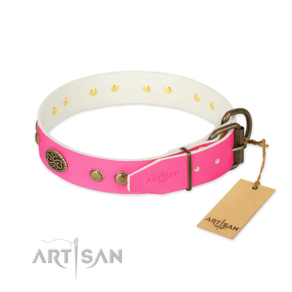 Strong fittings on natural leather dog collar for your dog