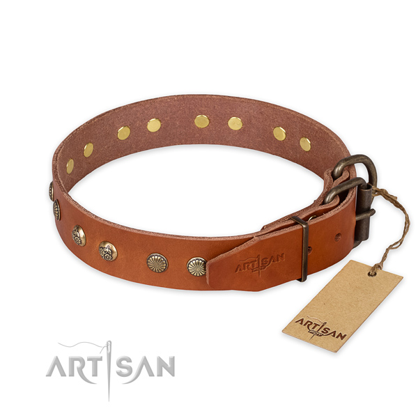 Durable hardware on leather collar for your handsome doggie