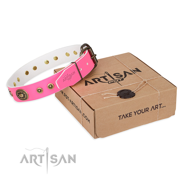 Full grain genuine leather dog collar made of top notch material with corrosion resistant D-ring