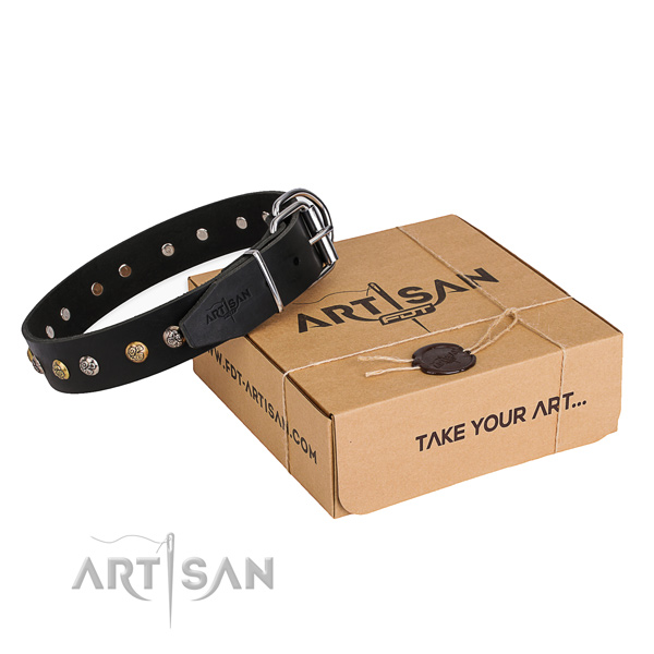 Flexible genuine leather dog collar handcrafted for stylish walking