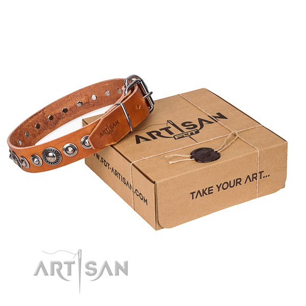 Leather dog collar made of top rate material with corrosion resistant traditional buckle