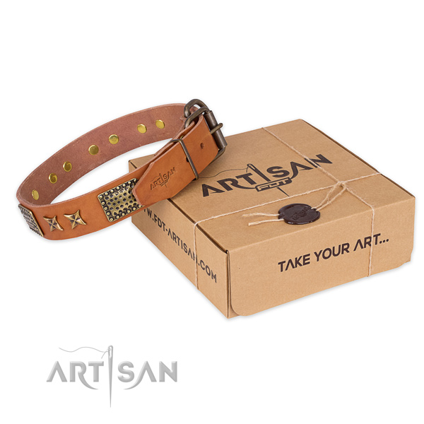 Corrosion proof buckle on natural genuine leather collar for your beautiful four-legged friend