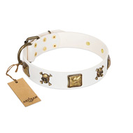 """Glo Up"" FDT Artisan White Leather Labrador Collar with Skulls and Crossbones Combined with Squares"