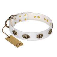 """Lovely Lace"" FDT Artisan White Leather Labrador Collar with Old Bronze Look Ovals"