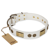 """Golden Avalanche"" FDT Artisan White Leather Labrador Collar with Old Bronze Look Plates and Circles"