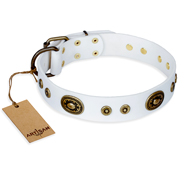 """Magnetic Appeal"" FDT Artisan White Leather Labrador Collar with Old Bronze Look Decorations"