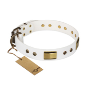 """Precious Necklace"" FDT Artisan White Leather Labrador Collar with Old Bronze Look Plates and Studs"