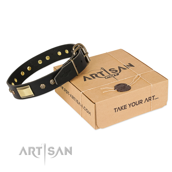 Inimitable full grain natural leather collar for your beautiful four-legged friend