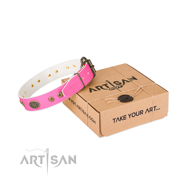 Durable buckle on natural leather dog collar for your dog