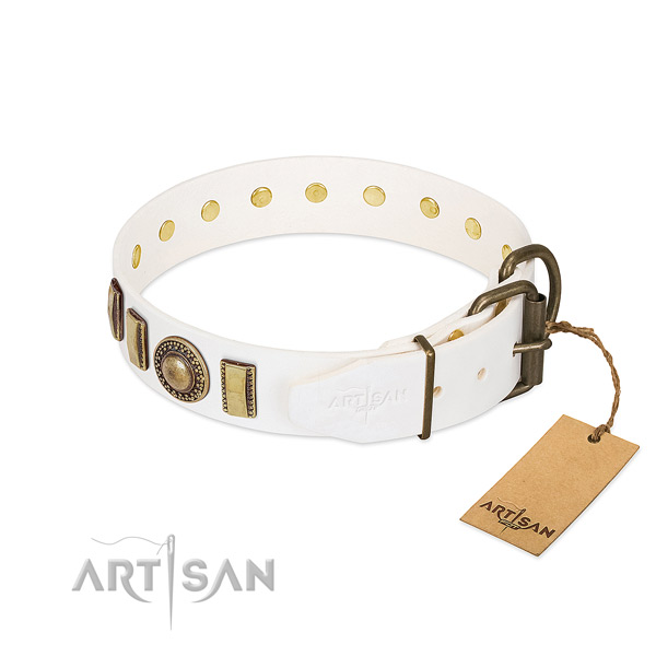 Top notch genuine leather dog collar made for your canine