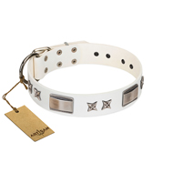 """Bling-Bling"" FDT Artisan White Leather Labrador Collar with Sparkling Stars and Plates"