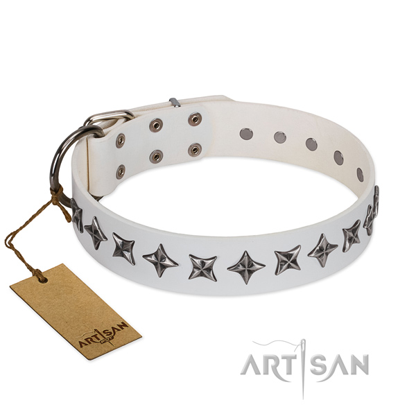 Comfortable wearing dog collar of durable full grain genuine leather with studs